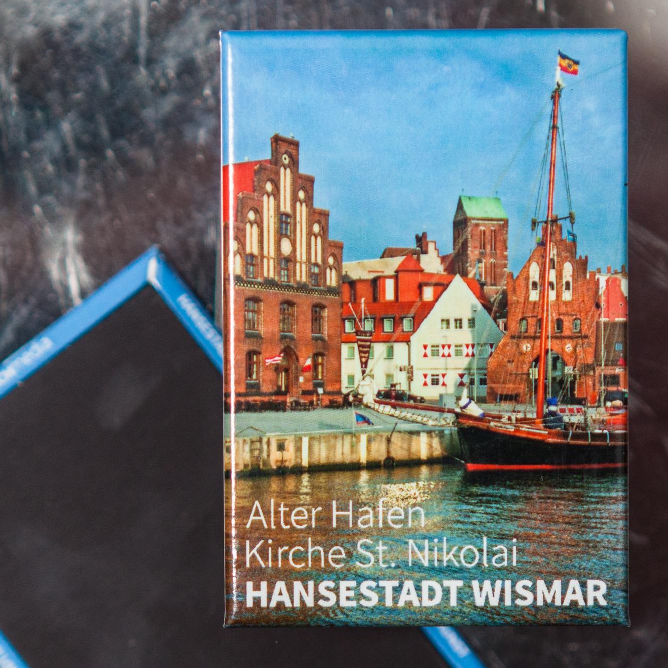 W023-M: Magnet Wismar: Alter Hafen, Zollhaus und Kirchturm St. Nikolai
