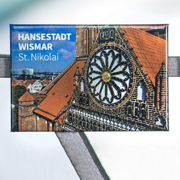Magnet W059-M: Altstadt der Hansestadt Wismar, reich geschmückter Giebel der Südhalle der Kirche St. Nikolai